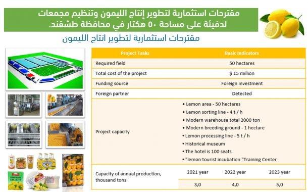 مقترحات استثمارية لتطوير انتاج الليمون