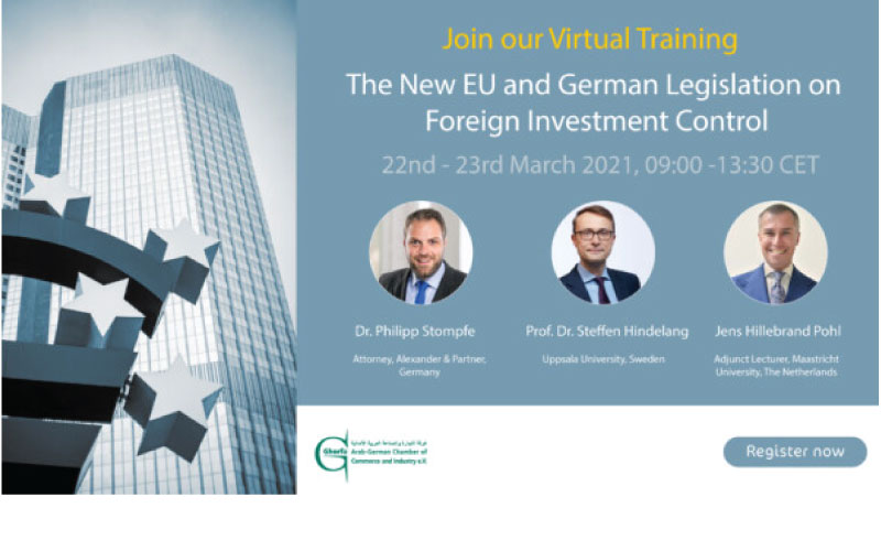 """Virtual Training on """"New EU and German Legislation on Foreign Investment Control"""" Using Zoom."""